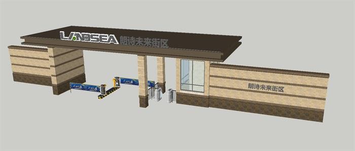 2个朗诗星火未来街区大门方案SU模型(7)