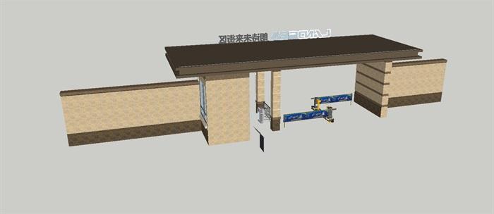 2个朗诗星火未来街区大门方案SU模型(9)