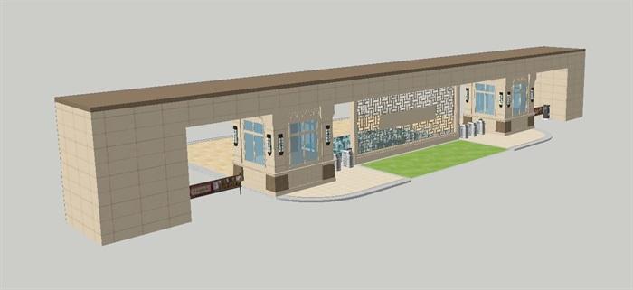 2个朗诗星火未来街区大门方案SU模型(10)
