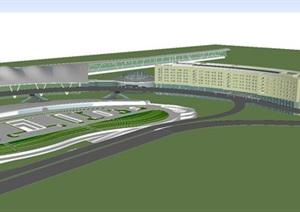 现代风格南京禄口机场建筑设计方案SU(草图大师)模型