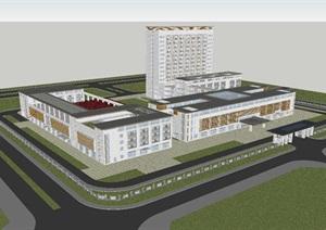 新中式综合医院建筑方案SU(草图大师)模型