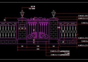 英式英倫風格別墅庭院私家花園入戶大門鐵藝鏤空大門院門圍墻燈柱施工圖詳圖