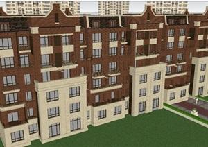 褐石风格洋房 新古典风格高层项目SU(草图大师)模型