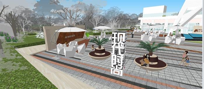 卓越浅水湾售楼处优展区建筑与景观方案SU模型(1)
