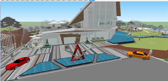 卓越浅水湾售楼处优展区建筑与景观方案SU模型(3)