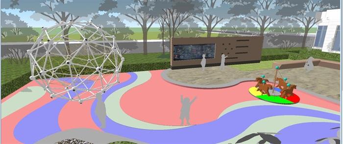 卓越浅水湾售楼处优展区建筑与景观方案SU模型(5)