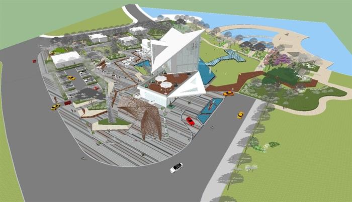 卓越浅水湾售楼处优展区建筑与景观方案SU模型(6)
