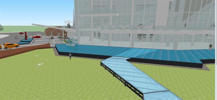 卓越浅水湾售楼处优展区建筑与景观方案SU模型(7)