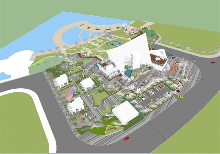 卓越浅水湾售楼处优展区建筑与景观方案SU模型(8)