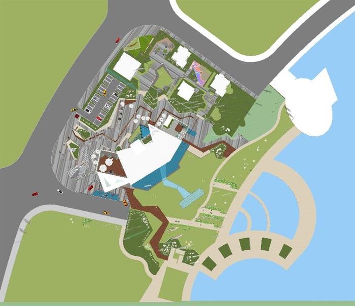 卓越浅水湾售楼处优展区建筑与景观方案SU模型(9)