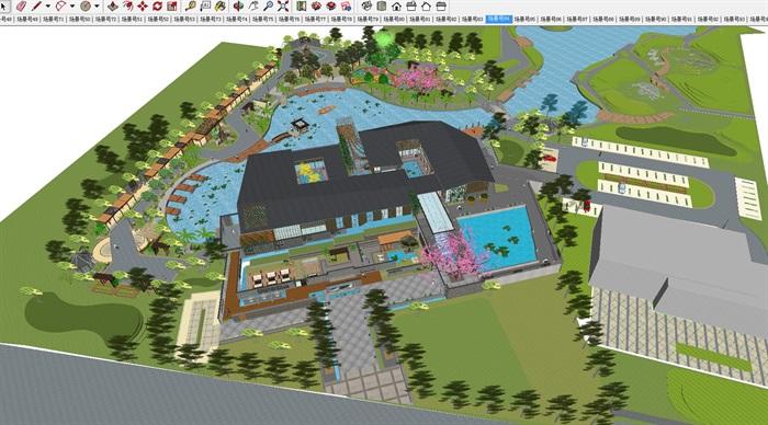 新中式泰丰清水湾售楼处建筑与景观方案SU模型(1)