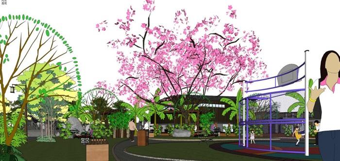 新中式泰丰清水湾售楼处建筑与景观方案SU模型(4)