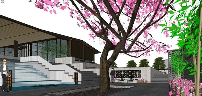 新中式泰丰清水湾售楼处建筑与景观方案SU模型(5)