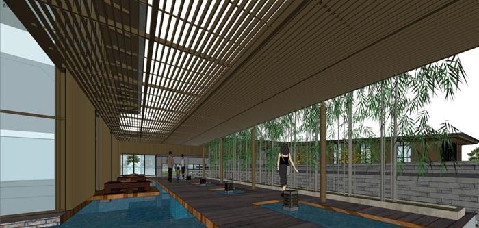 新中式泰丰清水湾售楼处建筑与景观方案SU模型(9)
