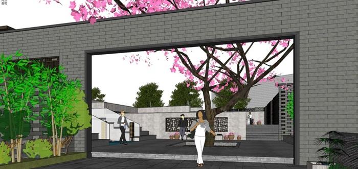 新中式泰丰清水湾售楼处建筑与景观方案SU模型(12)