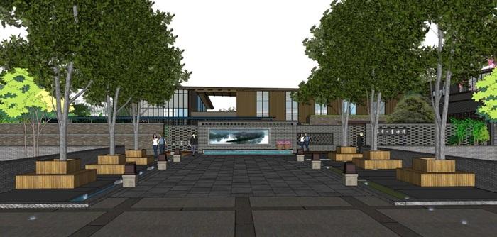 新中式泰丰清水湾售楼处建筑与景观方案SU模型(13)