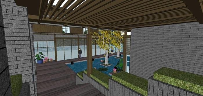 新中式泰丰清水湾售楼处建筑与景观方案SU模型(14)