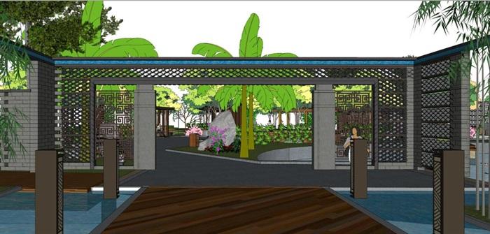 新中式泰丰清水湾售楼处建筑与景观方案SU模型(15)