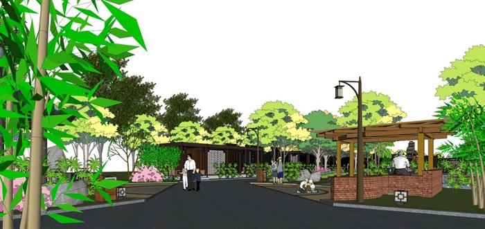 新中式泰丰清水湾售楼处建筑与景观方案SU模型(16)