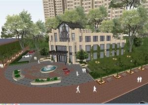 Artdeco风格高层住宅+售楼处方案SU(草图大师)模型