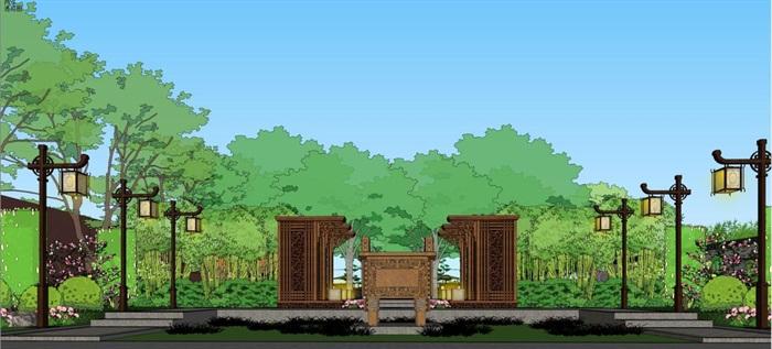 新中式山河一品售楼处景观设计方案SU模型(3)