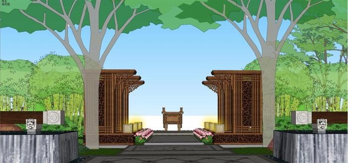 新中式山河一品售楼处景观设计方案SU模型(4)