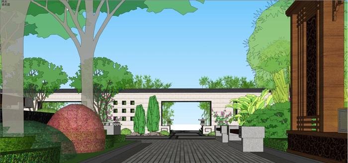 新中式山河一品售楼处景观设计方案SU模型(6)