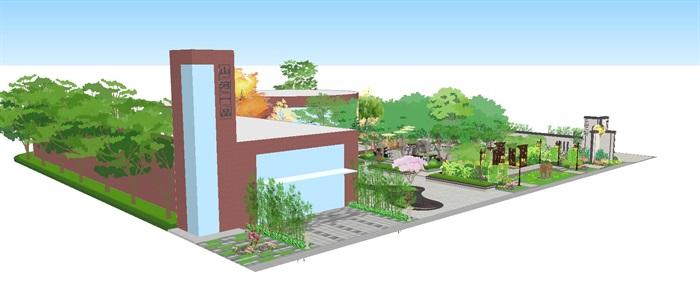新中式山河一品售楼处景观设计方案SU模型(7)