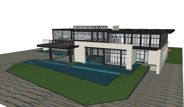 现代风格厦门建发销售展示中心SU模型(1)