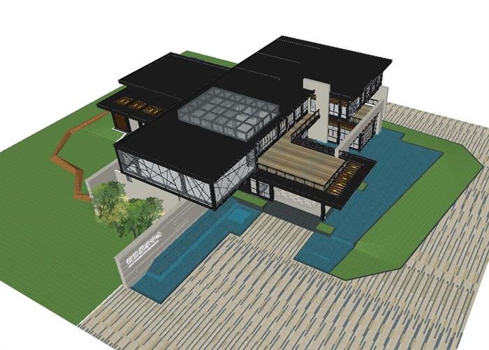 现代风格厦门建发销售展示中心SU模型(2)
