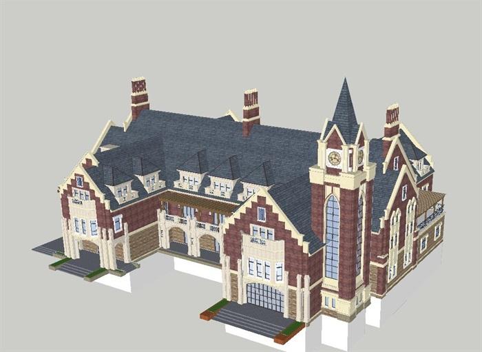 英式售楼部建筑方案SU模型(1)