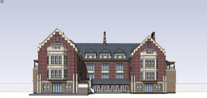 英式售楼部建筑方案SU模型(2)