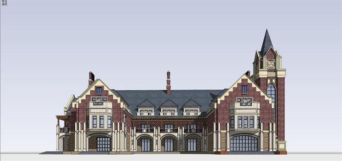 英式售楼部建筑方案SU模型(3)