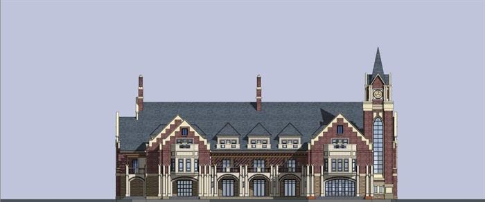 英式售楼部建筑方案SU模型(4)