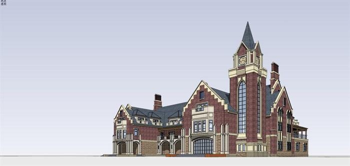 英式售楼部建筑方案SU模型(6)
