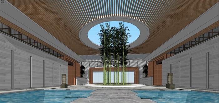 现代风格售楼处建筑方案SU模型(1)
