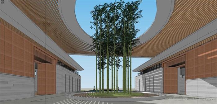现代风格售楼处建筑方案SU模型(2)