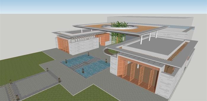 现代风格售楼处建筑方案SU模型(4)