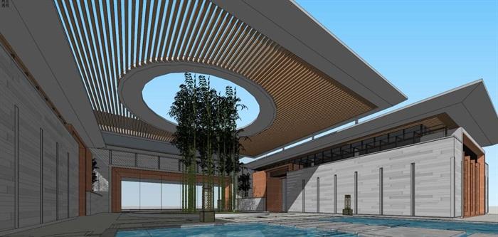 现代风格售楼处建筑方案SU模型(3)