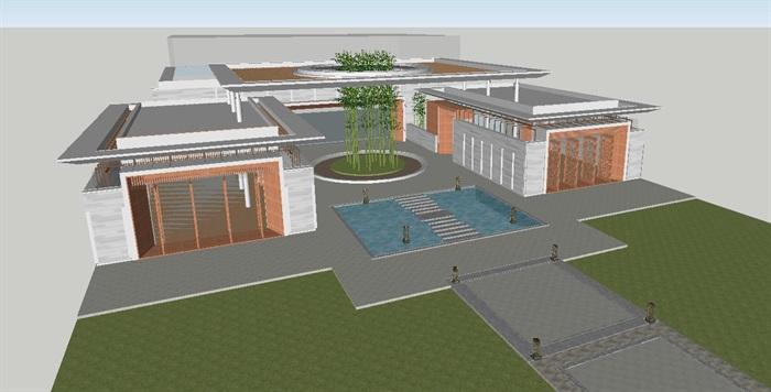 现代风格售楼处建筑方案SU模型(6)
