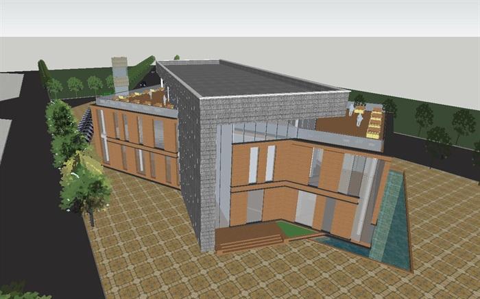现代风格售楼部建筑方案SU模型(1)