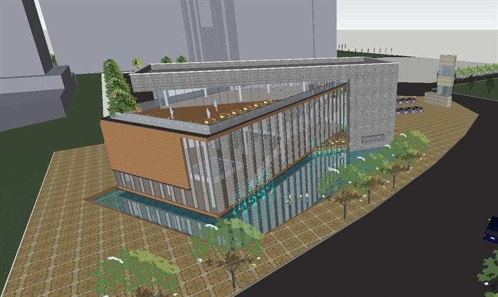 现代风格售楼部建筑方案SU模型(2)