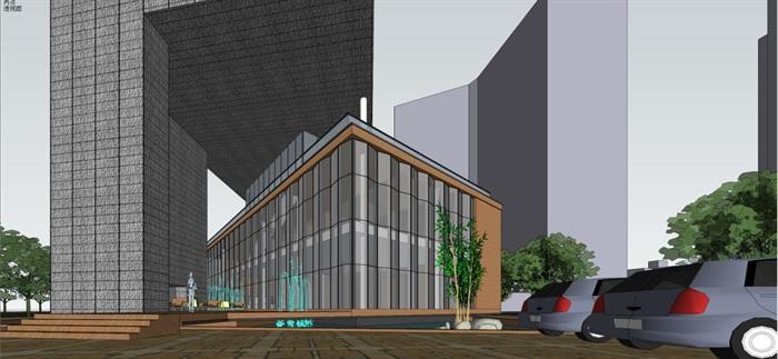 现代风格售楼部建筑方案SU模型(3)