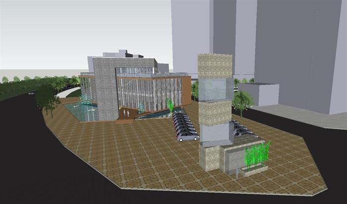 现代风格售楼部建筑方案SU模型(5)