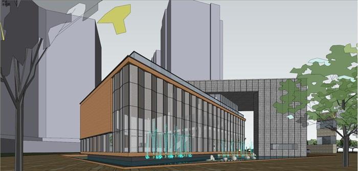 现代风格售楼部建筑方案SU模型(7)