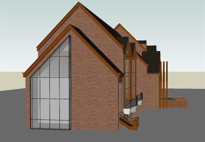 英式双坡顶售楼中心SU模型(3)