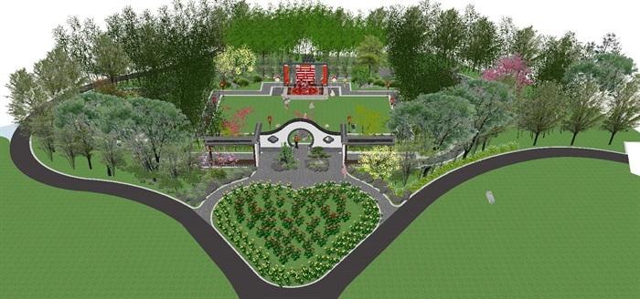 海州湾会议中心中式婚庆广场景观方案SU模型(1)