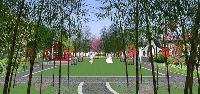 海州湾会议中心中式婚庆广场景观方案SU模型(2)