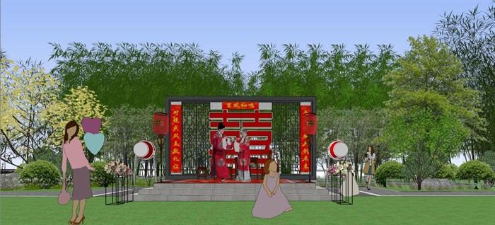 海州湾会议中心中式婚庆广场景观方案SU模型(9)