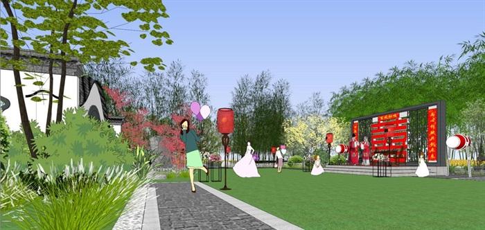 海州湾会议中心中式婚庆广场景观方案SU模型(10)